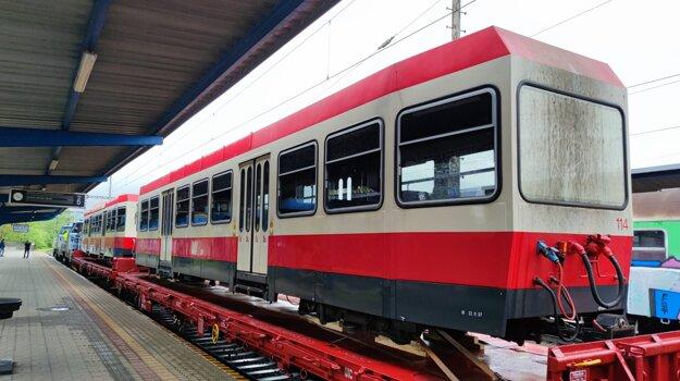 A Swiss tram at the Bratislava-Nové Mesto railway station.