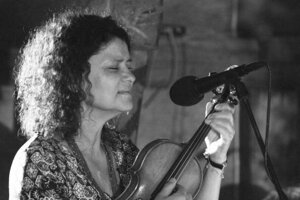 """Czech violinist and singer Iva Bittová during the recording of the """"Live At Tou"""" album."""