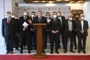 Robert Fico surrounded by his Smer MPs.