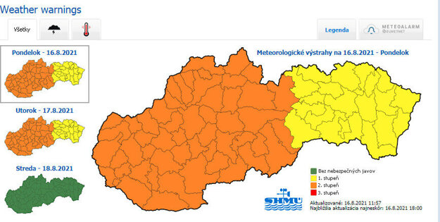 SHMÚ weather warnings for August 16 and 17, 2021.