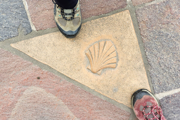 A floor tile with the shell marking the Way of St. James in Košice in front of the St Elisabeth Catedral.