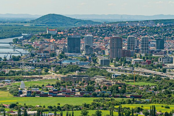 Aerial view of Bratislava from May 2021.