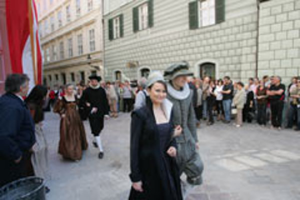 Nice threads: Contemporary fashions modelled at the re-opening of Bratislava's Apponyi Palace.