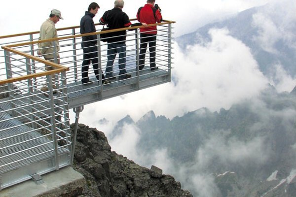 Mind the drop: quite a view from this deck in the Tatras.