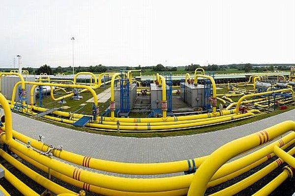 Gas pipes on the premises of Nafta in Plavecký Štvrtok.