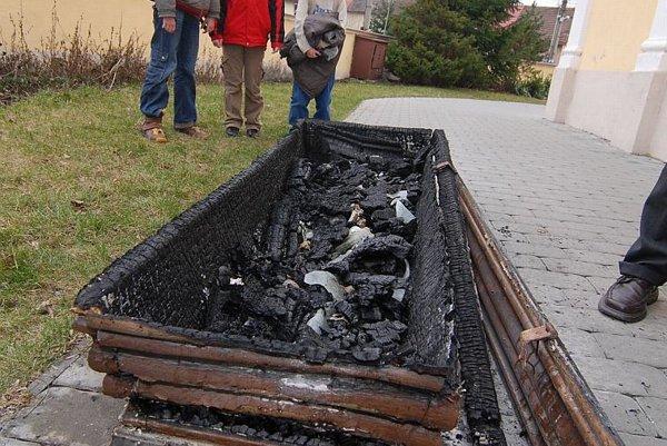 The burnt remains of Žofia Bosniaková after attack