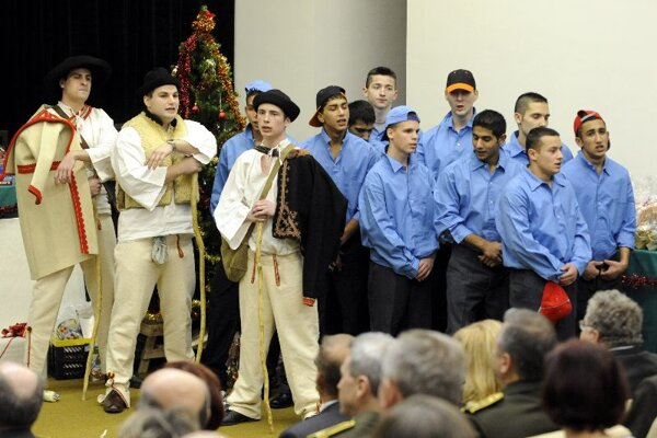 Young men from Sučany prison sing a Christmas carol.