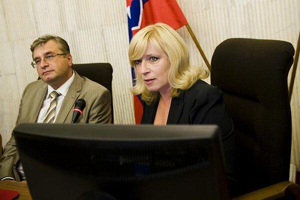 Ivan Švejna and Prime Minister Iveta Radičová at a cabinet session.