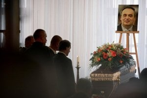 Mourners at Valko's funeral.