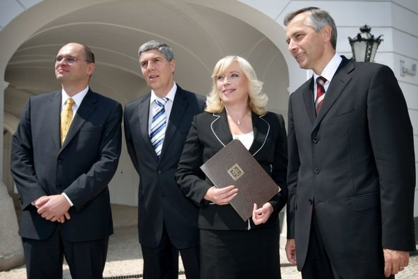 Iveta Radičová with her coalition partners in 2010. She was the first prime minister, but in Slovakia, politics is still mostly a men's job.