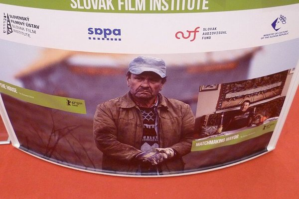 A billboard advertising Slovak films at this year's Berlinale.