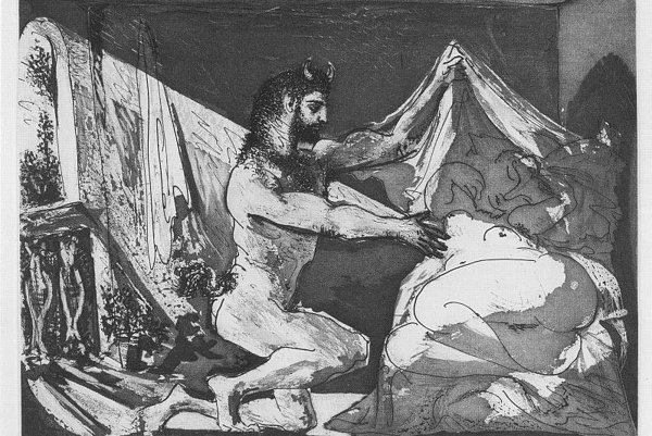 Faun uncovering a woman, by Picasso.