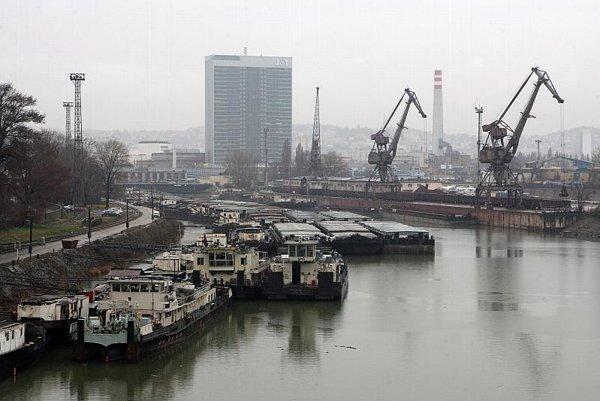 The Danube cargo port in Bratislava.