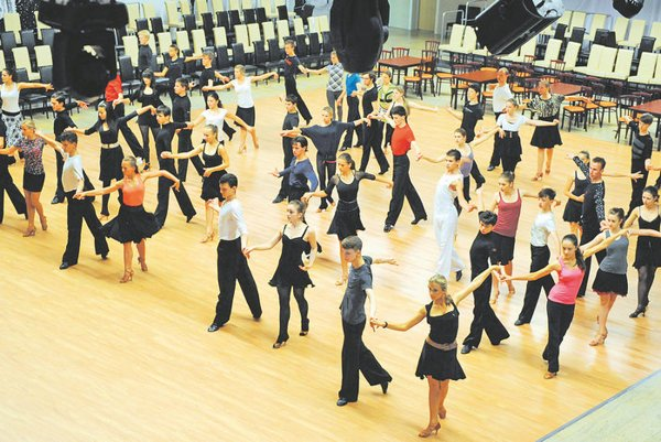 The Košice Open dance festival group training for competing dancers..