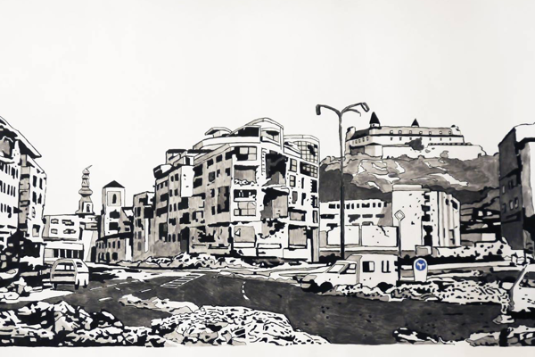 Oto Hudec, Deň po nálete / Day after Air Attack, drawing, 2013