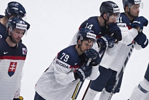 Sad Slovak hockey players after losing to Belarus.