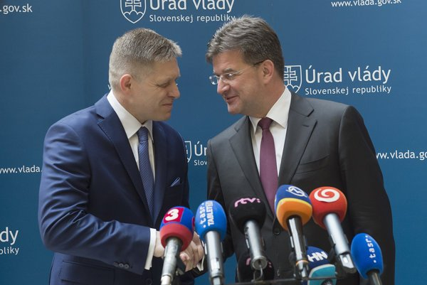 Miroslav Lajcak with PM Robert Fico.