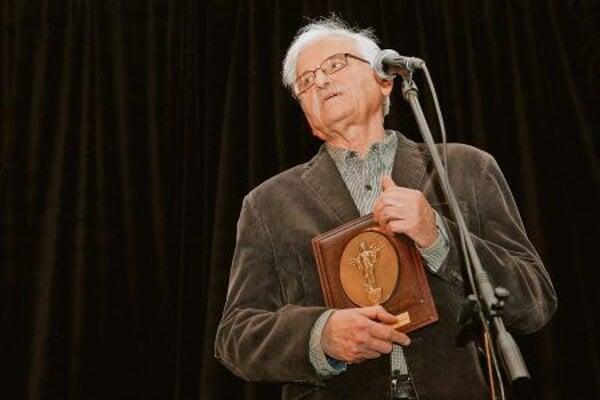 Slovak film director Dušan Hanák receives award at the Sofia International Film Festival.