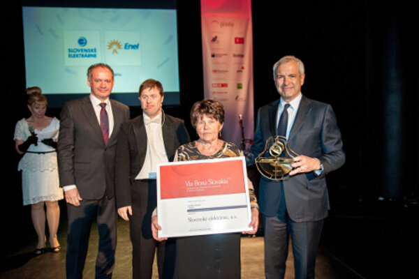 """Slovenské elektrárne received the main prize of the prestigious VIA BONA awards, the """"Responsible Large Corporation of 2013"""" for its social responsibility programme """"Energy for the Country""""."""