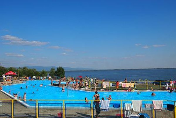 Swimming pool on the shore of Zemplínska šírava (dam)