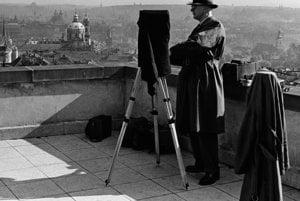 Karol Plicka taking pictures of Prague panorama, 1939.