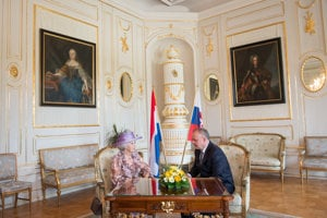 Princess Beatrix of the Netherlands meets with Slovak President Andrej Kiska.