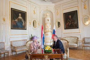 Princess Beatrix of the Netherlands meets with Slovak President Andrej Kiska.