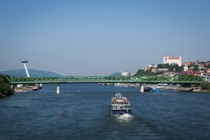 The Danube River in Bratislava.