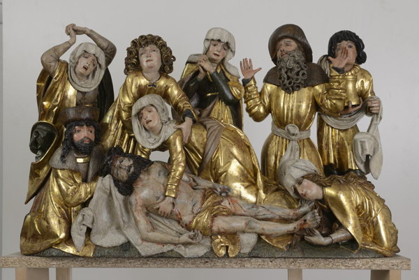 Group of statues from the Nativity of Jesus Altar, Gothic Treasures form Slovakia expo