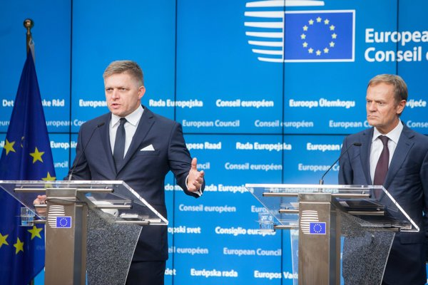 L-R Slovak Prime Minister Robert Fico and President of the European Council Donald Tusk at the Summit in Brussels.