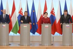 Prime ministers of the Visegrad Group, from left, Czech PM Bohuslav Sobotka, Hungarian PM Viktor Orban, Polish PM Beata Szydlo and Slovak PM Robert Fico in Warsaw, Poland, on March 2, 2017.