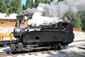 Historical engine at the Orava Forest Railway
