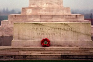 "A monument at ""Tyne Cot cemetery"" in Passendale, Belgium."