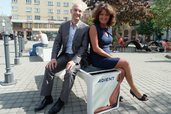 One of four smart benches now available in Bratislava.
