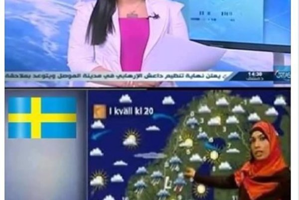 The two stills that compare alleged weather forecasts in Syria and Sweden