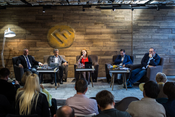 Candidates for the post of Bratislava Region's governor attending the discussion organised by the Sme daily (l-r): Juraj Droba, Milan Ftáčnik, Rudolf Kusý and Pavol Frešo.