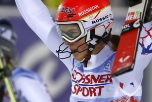 Petra Vlhová rejoices after her victory in first World Cup race in Finnish Levi, November 11.