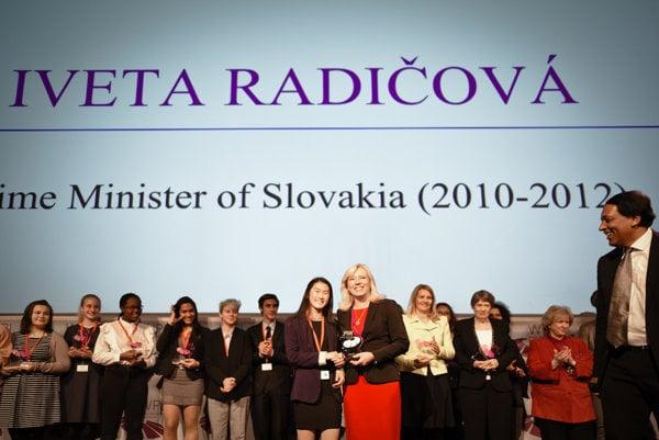Ex-PM iveta Radičová (R front) receives award of the World Political leaders Forum, November 29.