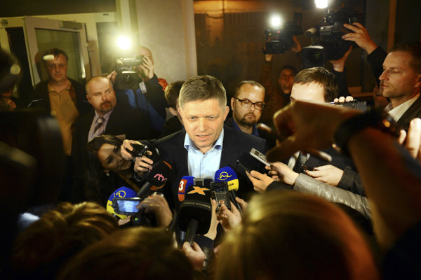 Robert Fico during the night of the second round of the presidential election on March 29, 2014.
