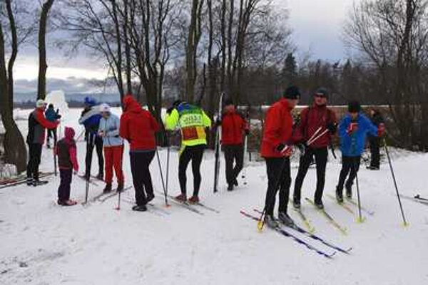 Cross-country ski race, illustrative stock photo.