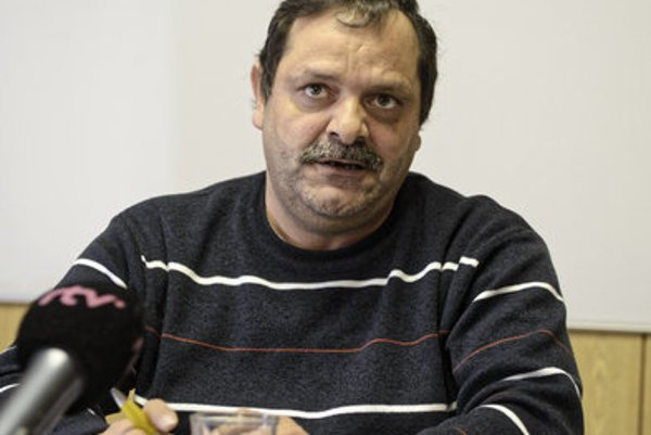 FRantišek Tanko at a press conference.