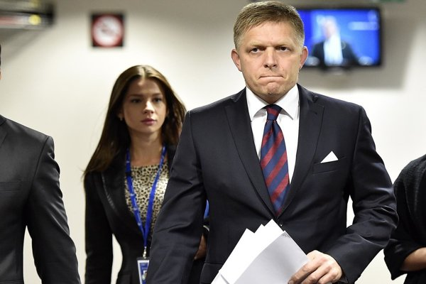 Outgoing PM Fico with Mária Trošková in Brussels, September 2015.