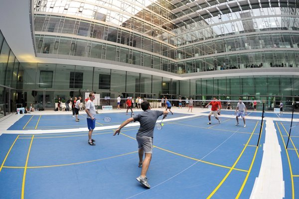 Badminton played on Charity Day.
