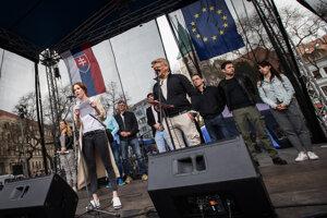 Actors spoke at the April 15 protest in Bratislava.