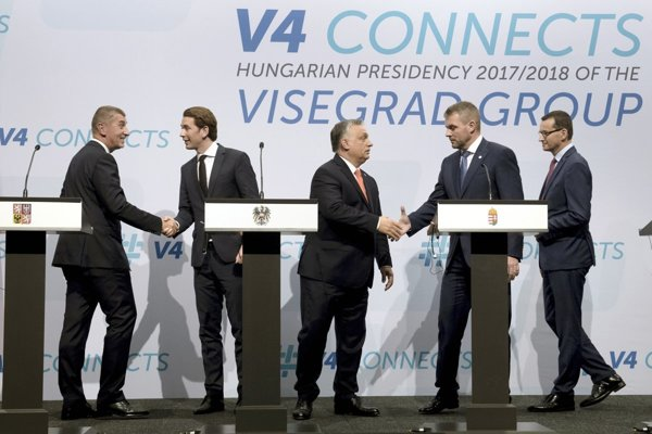 Prime ministers of V4 countries and their Austrian counterpart.