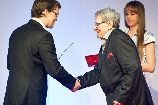 Ex-culture minister Marek Maďarič awards Milan Dobeš in 2012.