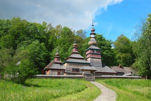 Wooden churches have made it to the UNESCO World Heritage List. This one, from the village of Mikulášová, is now located in the Bardejovské Kúpele open-air museum.
