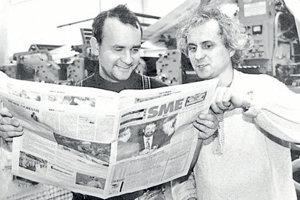 Alexej Fulmek (right) and Karol Ježík in the early days of Sme.