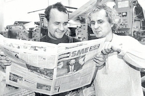 Alexej Fulmek (right) and Karol Ježík in the early days of Sme.