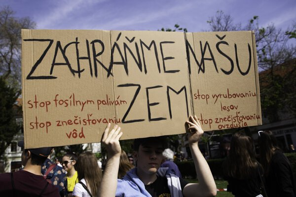 April 26 student protest for climate in Bratislava.